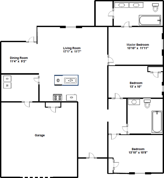 Three Bedroom / Two Bath - 1,320 Sq. Ft.*